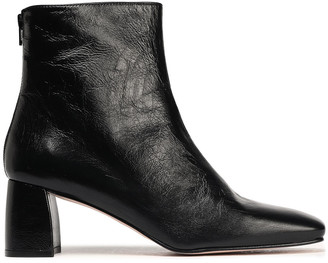 Stuart Weitzman Crinkled Glossed-leather Ankle Boots