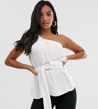 ASOS DESIGN Petite one shoulder top with ring detail