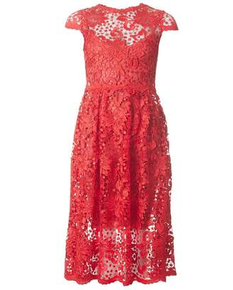 Body Frock Lace Full Skirt Midi Dress Colour: SCARLET, Size: 8