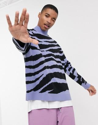 ASOS DESIGN turtleneck sweater in purple zebra