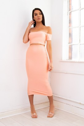 Dolls Of Decadence Off shoulder bardot two-piece maxi skirt co-ord