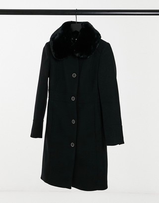 Forever New long coat with faux fur collar in black