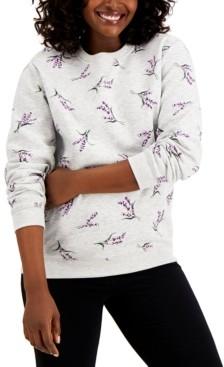 Karen Scott Lavender Luxe Fleece Top, Created for Macy's