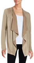 T Tahari Perforated Faux Suede Open Cardigan