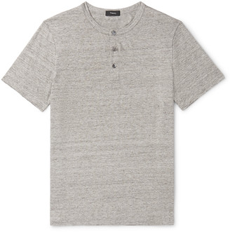 Theory Melange Stretch-Linen Henley T-Shirt