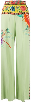 Etro Wide Leg Floral Print Trousers