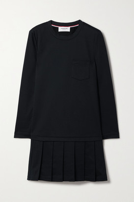Thom Browne Pleated Cotton Mini Dress - Navy
