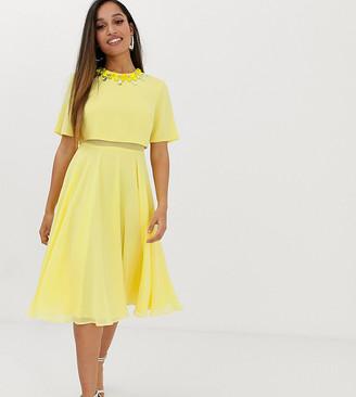 ASOS DESIGN Petite 3D embellished crop top midi dress