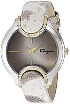 Salvatore Ferragamo Women's 'Signature' Quartz Stainless Steel and Leather Casual Watch, Color:Beige (Model: FIZ060015)