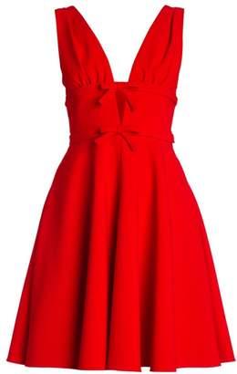 Miu Miu Bow-Trimmed Flare Cady Dress