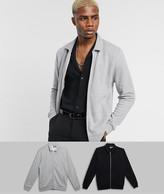 Asos Design DESIGN jersey harrington jacket 2 pack in black / gray marl