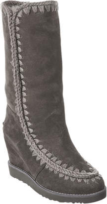 Mou French Toe Tall Suede Wedge Boot