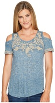 Lucky Brand Embroidered Cold Shoulder Top Women's Short Sleeve Pullover