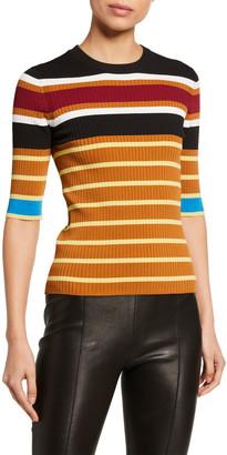 Rosetta Getty Striped Ribbed Crop-Sleeve Sweater