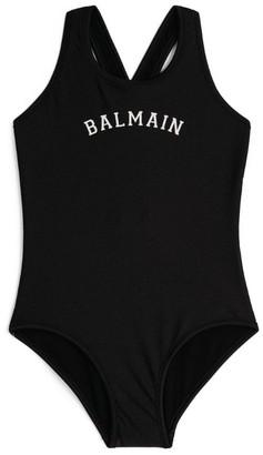 Balmain Kids Logo Cross-Back Swimsuit (8-16 Years)