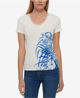 Tommy Hilfiger Cotton Lace-Trim Floral-Print Top, Only at Macy's