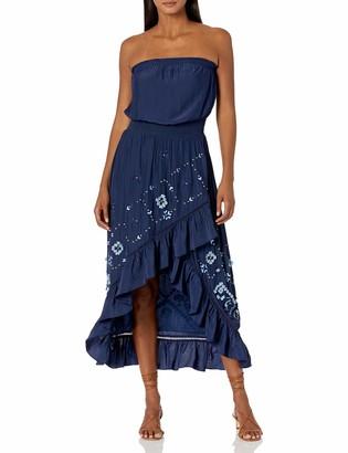 Ramy Brook Women's Ronan Strapless Ruffle Midi Dress with Fringe Detail