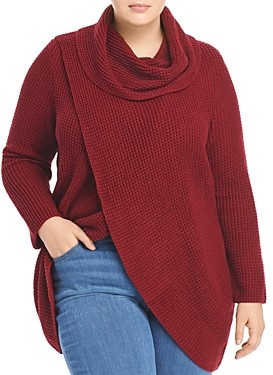 Single Thread Plus Size Cross Front Cowl Neck Sweater