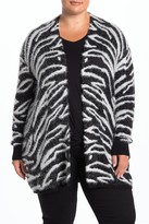 Susina Animal Print Faux Fur Eyelash Jacquard Cardigan (Plus Size)