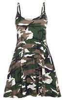 GirlsWalk Girls Walk Women's Strappy Army Camouflage Print Cami Swing Dress