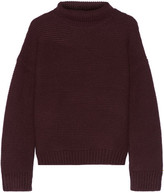 Vince Textured Wool And Cashmere-blend Turtleneck Sweater - Merlot