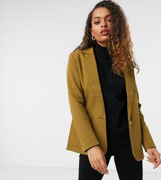 VILA Petite blazer in olive green
