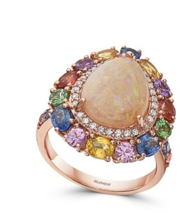 Effy Opal (2 1/4 ct. t.w.), Multi Sapphire (5 5/8 ct. t.w.) & Diamond (3/8 ct. t.w.) Pear Ring in 14k Rose Gold