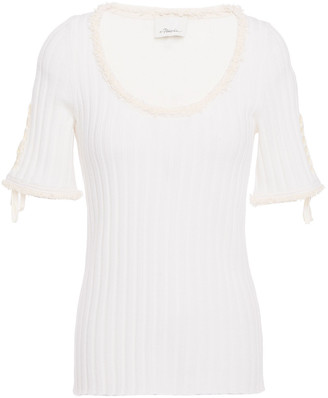 3.1 Phillip Lim Lace-up Frayed Ribbed Wool Top