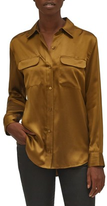 Equipment Signature Button-Up Silk Blouse
