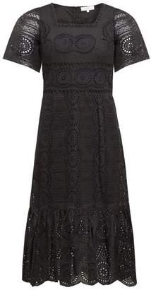 Sea Zinna Broderie Anglaise Cotton Dress - Womens - Black