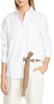 Brunello Cucinelli Monili Stripe Cuff Stretch Poplin Shirt