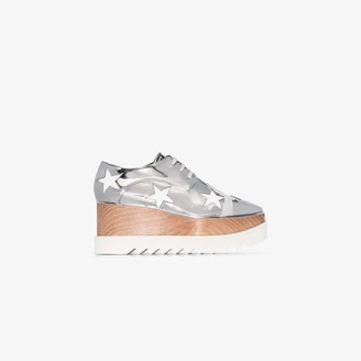 Stella McCartney silver Elyse 80 star print flatform shoes