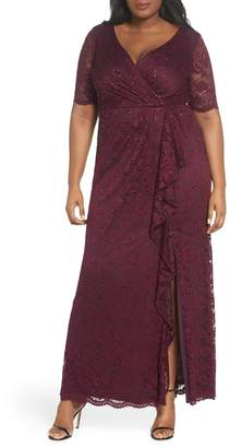 Adrianna Papell Cascade Ruffle Sequin Lace Gown (Plus Size)