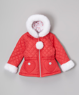 KC Collections Fuchsia Diamond Quilted Puffer - Girls