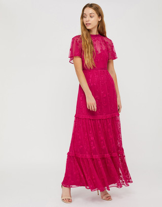 Under Armour Billie Sustainable Embroidered Lace Maxi Dress Pink