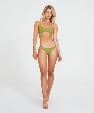 Subtitled Scoop Neck Bikini Top Olive Green