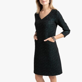 Anne Weyburn Jacquard Shift Dress with Pockets and Long Sleeves
