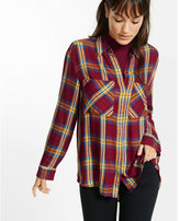 Express yellow and berry hi-lo plaid shirt