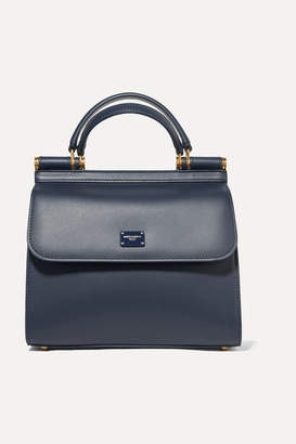 Dolce & Gabbana Sicily 58 Small Leather Tote - Navy
