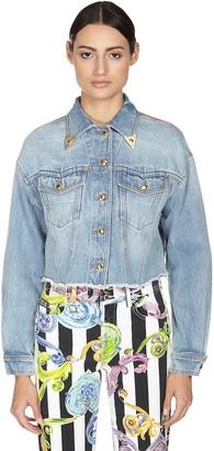 Versace Cropped Cotton Denim Jacket