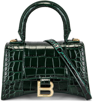 Balenciaga XS Hourglass Top Handle Bag in Forest Green | FWRD