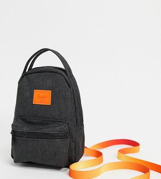 Herschel Nova mini backpack cross body bag in black and orange