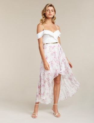 Forever New Season Petite Off-shoulder Two-in-One Dress - Watercolour Bloom - 4