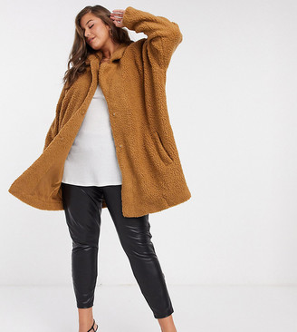 Only Curve teddy coat in camel