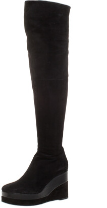 Hermes Black Suede And Leather Platform Wedge Over The Knee Boots Size 37