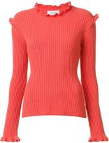 Derek Lam 10 Crosby cashmere ruffled detailing ribbed pullover - women - Cashmere - XS