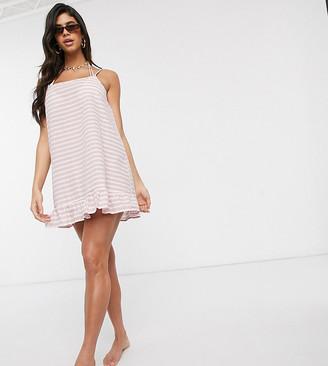 Akasa Exclusive mini beach dress with ruffle hem in rust stripe