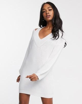 Asos Design DESIGN cut out v neck jumper dress-White