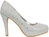 Yours Clothing Silver COMFORT INSOLE Embellished Platform Heeled Party Shoe In E Fit