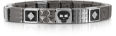 Nomination Steel Ikons Black Enamel and Brushed Stainless Steel Bracelet w/Cubic Zirconia